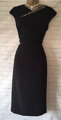 ** TED BAKER FLORAY Size 2 10 Cut Out Black Embellished Dress Party Wedding **