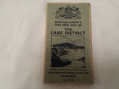 Bartholomew's One Inch Map Of The Lake District Vintage Fold Out Map