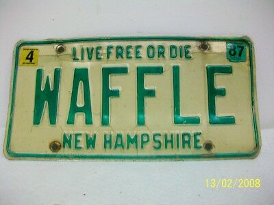 New Hampshire Vanity Plate  WAFFLE  Collectible