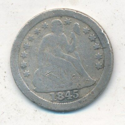 1845-O Seated Liberty Silver Dime-Better Date-Nice Circulated Dime-Ships Free!