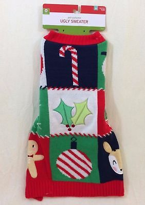 NEW Target UGLY SWEATER Dog Costume M - Candy Cane, Mistletoe, Snowman - MEDIUM