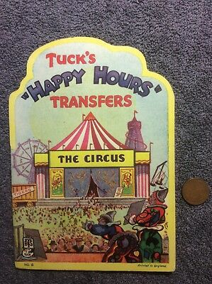 Vintage 1930s Raphael Tucks Happy Hours Transfer Decals The Circus (6) Sheets