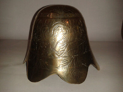 Antique Solid Heavy Brass Chinese Bell Shaped Gong Dragon Engraved Made In China