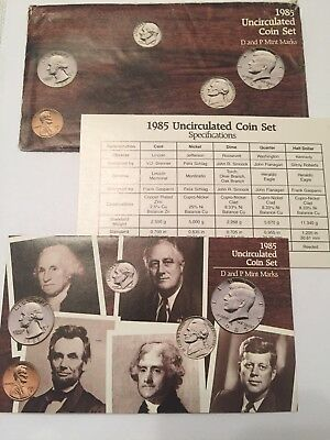 1985 US Mint 10-Coin Uncirculated Mint Set in Envelope with COA