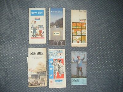 travel maps lot of 6 collectible New York / State Exxon Hess Getty brochure maps