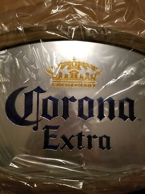*CORONA EXTRA* NIB Oval Beer Mirror wood frame, great gift for bar or man cave