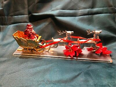 Vintage 1960's Santa and Reindeer Sleigh  Silver and Gold