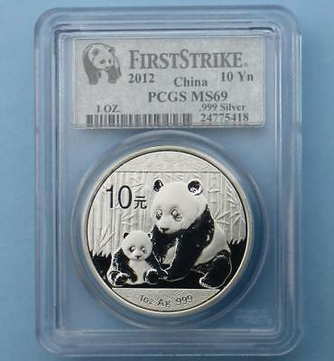 2012 PCGS MS 69 China Panda 1 Ounce .999 Silver 10 Yuan Coin, First Strike Coin