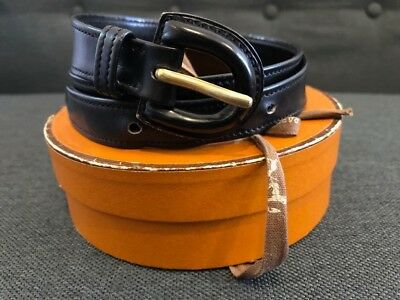Hermes Original Authentic Black Both Sides Vintage Leather Belt