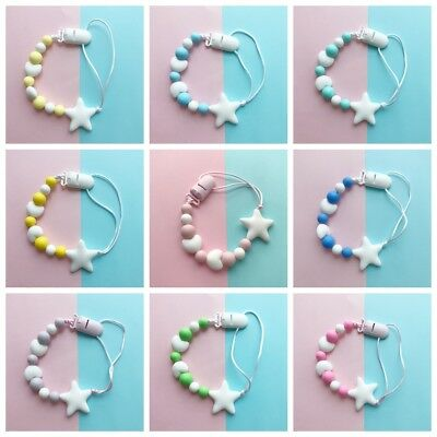 Silicone  Star Shape Chew Toy Dummy Clips Baby Teething Soother Pacifier Chain