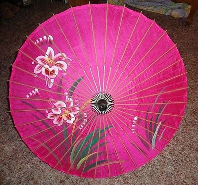 Vintage Asian Pink Bamboo Parasol Umbrella Hand Painted Flowers Japanese