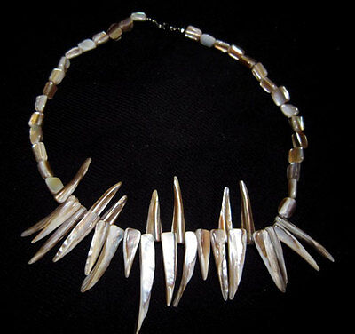 OUTSTANDING VINTAGE MOTHER of PEARL NECKLACE!!!