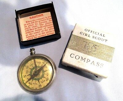 1936 Girl Scout COMPASS RARE Gauge Co, Beveled Top, Brass CASE Christmas GIFT