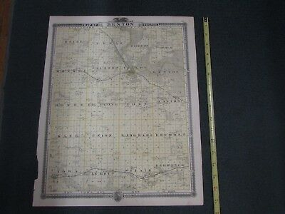 1875  Map of BENTON COUNTY, Iowa, hand-tinted,  -A.T. Andreas Historical Atlas
