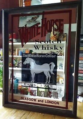 White Horse Scotch Whiskyvintage Timber Framed Graphic Mirror