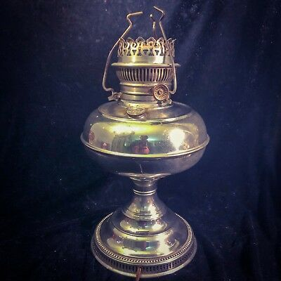 """Rayo Oil Hurricane Lamp Converted To Electric - Antique Vintage 12""""!"""