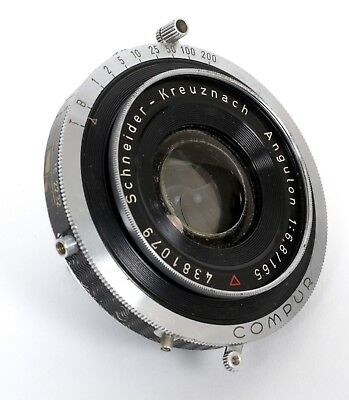 Schneider Angulon 165mm F6.8 Lens in Compur (compact, wide-angle for 8X10)