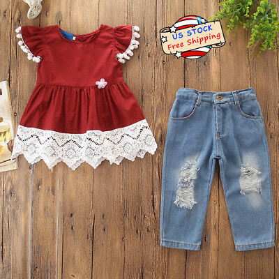 Kids Baby Girl Lace Short Sleeve T-Shirt Tops+Ripped Jeans Pants Outfit Set 2-7Y