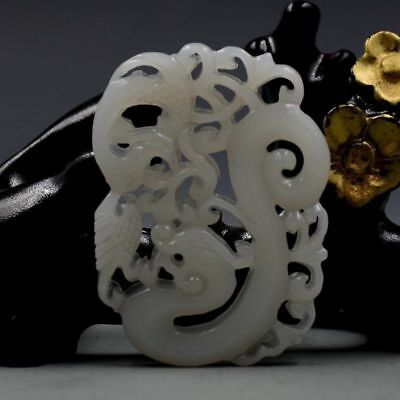 Chinese Natural Hetian Jade Hand-carved Dragon & Phoenix Pendant