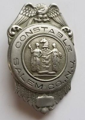 1920's 30s Prohibition Era Salem County New Jersey Constable Badge