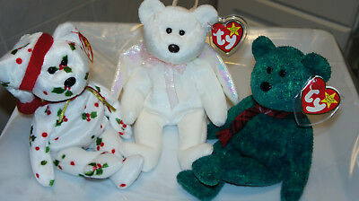 Ty Beanie Babies Lot Of 3: Halo, Wallace, 1998 Holiday Teddy New