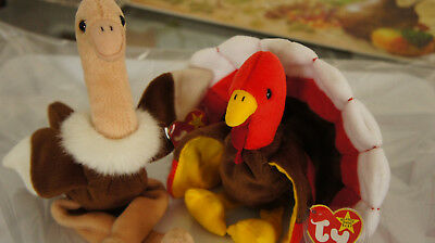 Ty Beanie Babies Gobbles The Turkey, Stretch The Ostrich Great Condition