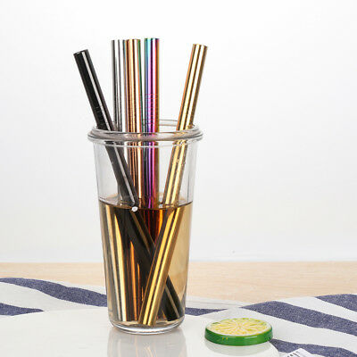 Metal Washable Kitchen Stainless Steel Straight Bend Reusable Drinking Straw