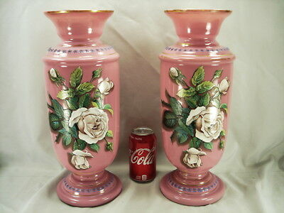 15 1/2 Inches Tall Antique Pair Pink Bristol Glass Vases - Floral, Hand Painted