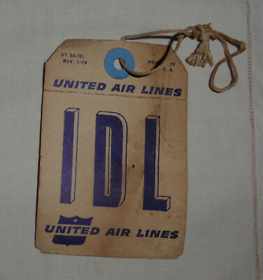 Vintage United Airlines Baggage Claim Tag from Idlewild Airport