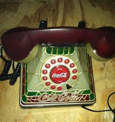 Vintage Coca Cola Stained Glass Push Button Tiffany Style Phone