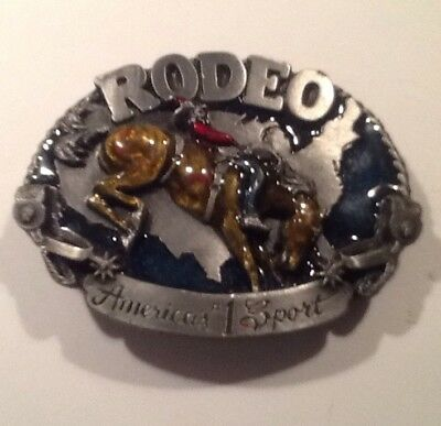 Vintage Siskiyou Rodeo America's #1 Sport Bucking USA Bronco Belt Buckle