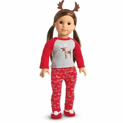 "NIB American Girl Doll Festive Reindeer PJs Pajamas for 18"" Dolls Xmas Holiday"
