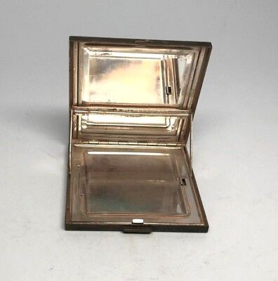 Antique Sterling Silver Compact Make-Up Mirror Case Patented Engraved 3 X 3