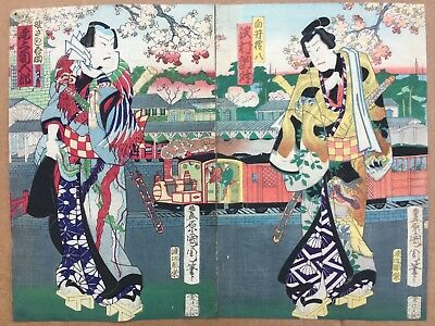 Original Japanese woodblock print diptych by Kunisada
