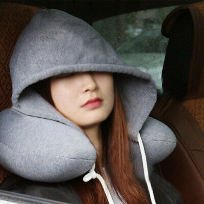 Travel Hooded Pillow Cushion Car Office Airplane Head Rest Neck Support U-Shaped