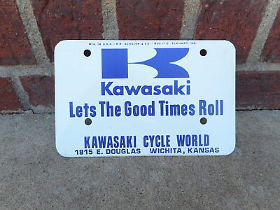 "Vintage Kawasaki ""Lets The Good Times Roll""  Metal Adv Motorcycle Plate NOS"