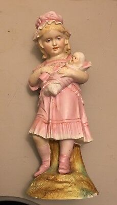 Bisque German Large Figurine Statue of Girl Feeding Doll with Bottle