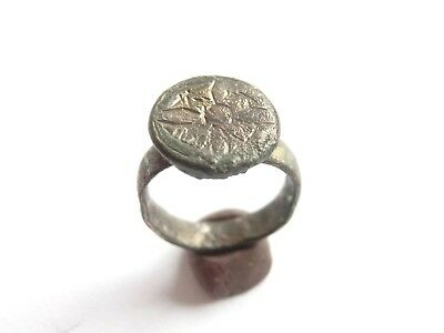 Late ROMAN PERIOD Acient Roman Billon Ring with a CROSS -WEARABLE!