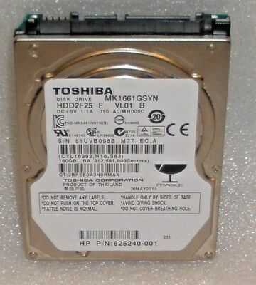 """Lot of 5 Toshiba SATA MK1661GSYN F VL01 B 160GB 16MB 2.5"""" Wiped Formatted Tested"""