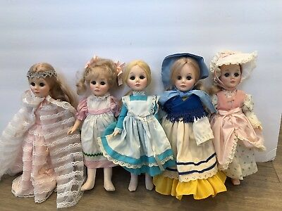 "Vintage 70's Lot of 5 Madame Alexander 12""  Dolls, Alice in Wonderland & Others"