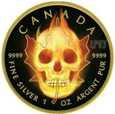 2015 1 Oz Silver $5 BURNING SKULL CANADIAN MAPLE LEAF Ruthenium Coin, 24K GOLD.