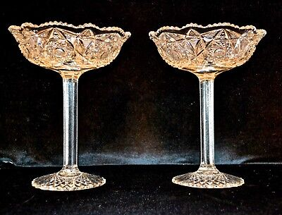 PR American Brilliant 1890's Antique ELEGANT RICHLY CUT FOOTED COMPOTE SET ABP