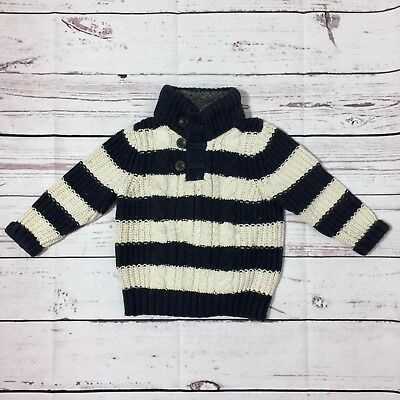 Baby Gap Toddler 2T Boys Block Color Striped Cable Knit Sweater