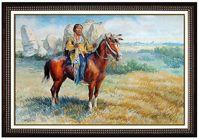 Dave Powell Watercolor Painting On Board Native American Sitting Bull Signed Art