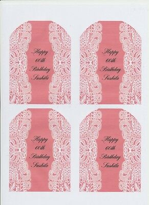 SET OF 6 X PERSONALISED 89 x120.7MM PINK LACE  WINE BOTTLE LABELS