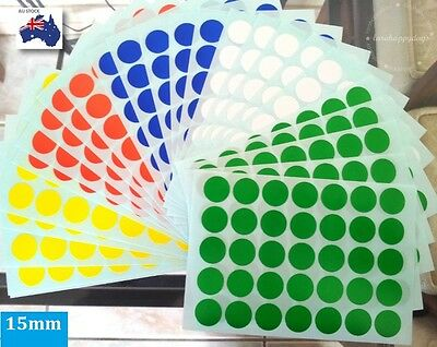875 pcs Assorted Colour Code Round Stickers Label Dots Spots Medium 15 mm