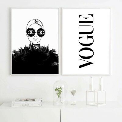 Fashion Woman Vogue Chanel Canvas Painting Wall Art Home Decor For Living Room