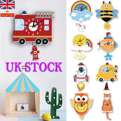 UK Creative Cartoon Cute Wall Clock Home Kids Room Decor Watch Creative Gift DIY