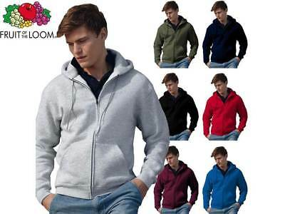 Fruit Of The Loom Felpa da uomo con cappuccio e zip 280gr