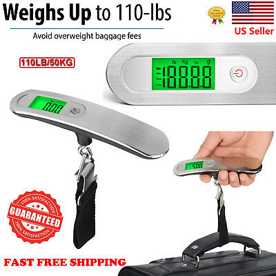 110lb / 50kg LCD Digital Hanging Luggage Scale Electronic Weight Portable Travel